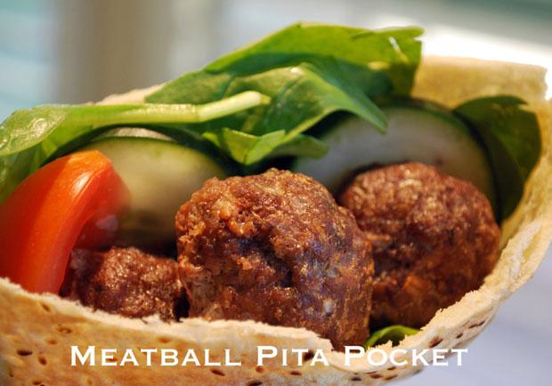 希臘風午餐輕食:肉丸口袋麵包 Meatball Pita Pockets