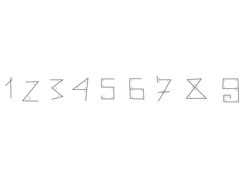 阿拉伯數字 1有一個角、9就有9個角