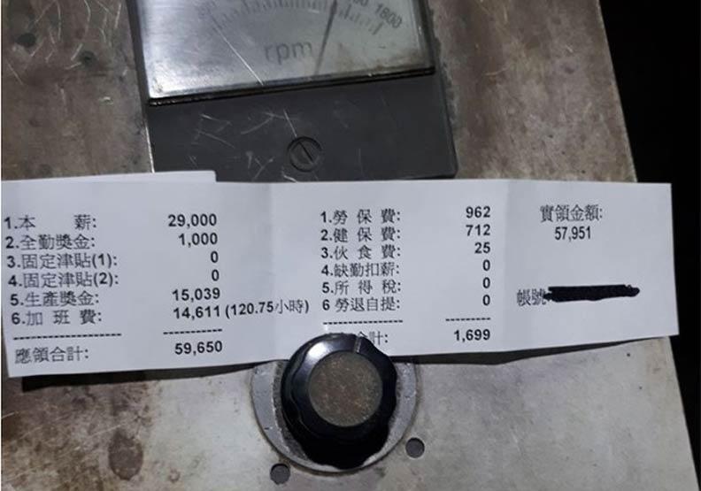 高雄月薪59K 原來是加班120小時換的