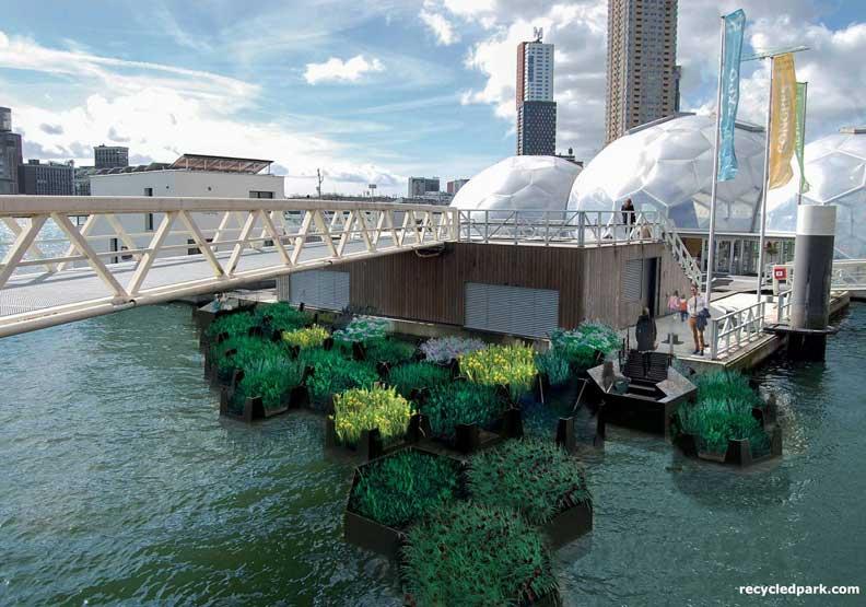 用廢棄物打造?荷蘭鹿特丹的環保水上漂浮公園!