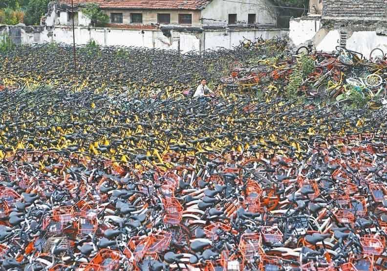 一台接一台變廢鐵...共享單車在大陸的倒閉潮