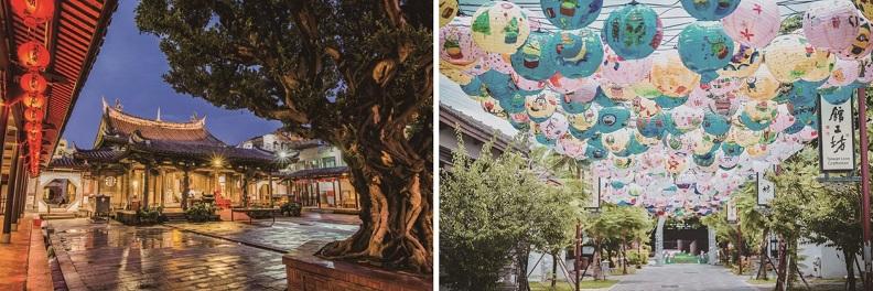 (左)國定古蹟龍山寺是台灣保存最完整的清朝建築物。 (右) 鹿港桂花巷藝術村散發文青味,處處都是旅人的打卡點。