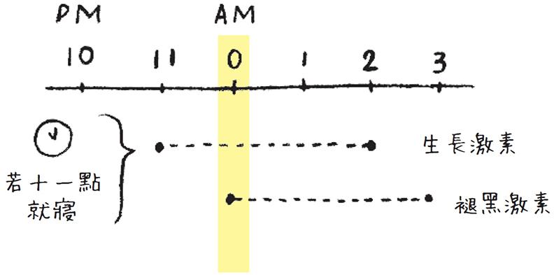半夜12點到凌晨3點是褪黑激素分泌的高峰期。