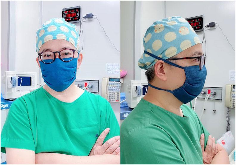 陳冠廷醫師分享布口罩(連帽子都是自製布帽);取自陳冠廷醫師臉書。