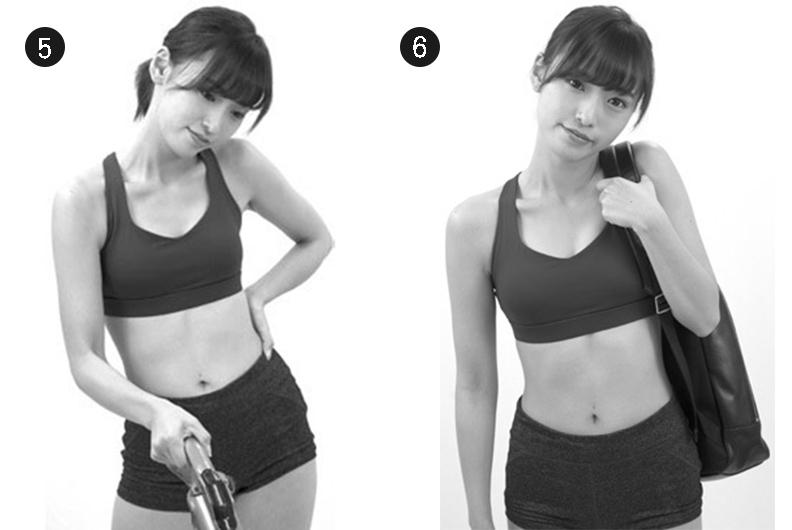 肩膀在使用吸塵器或是背肩背包時呈現傾斜。