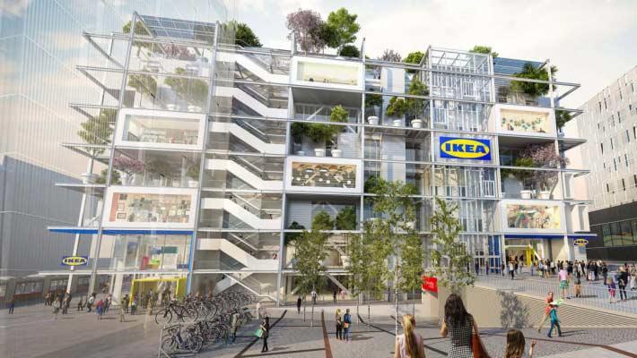 維也納市中心 7 層樓高的 IKEA 新分店將不提供任何停車位,並計劃於大樓 4 面大量種植綠色植物。來源:IKEA 官網