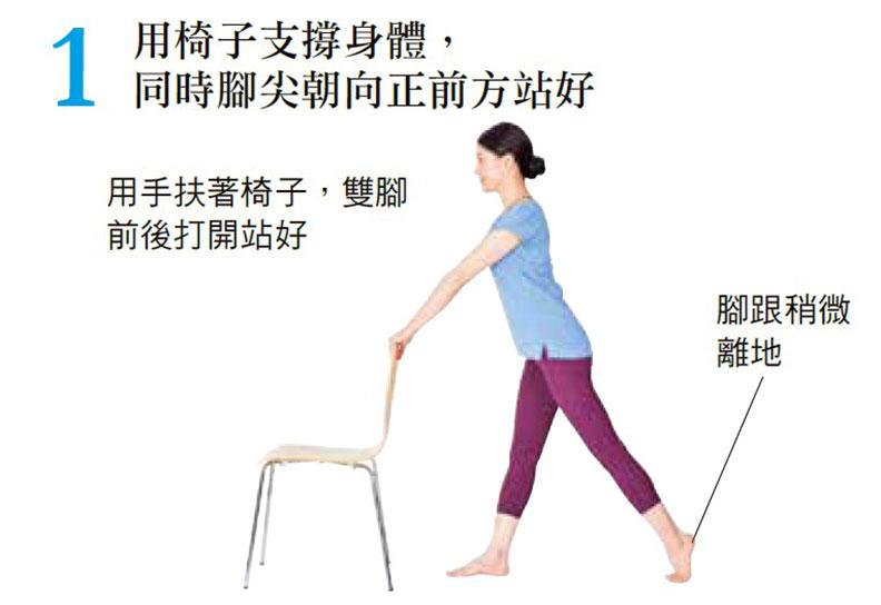 用椅子支撐身體,同時腳尖朝向正前方站好。