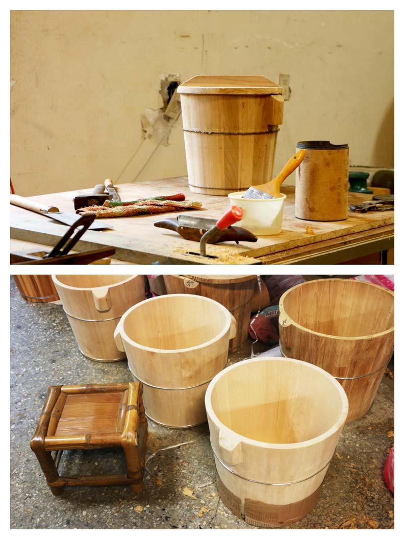 木桶好處多,泡澡、洗腳桶可保溫並促進血液循環;料理用木桶則能讓食物風味更好。攝影:洪采姍