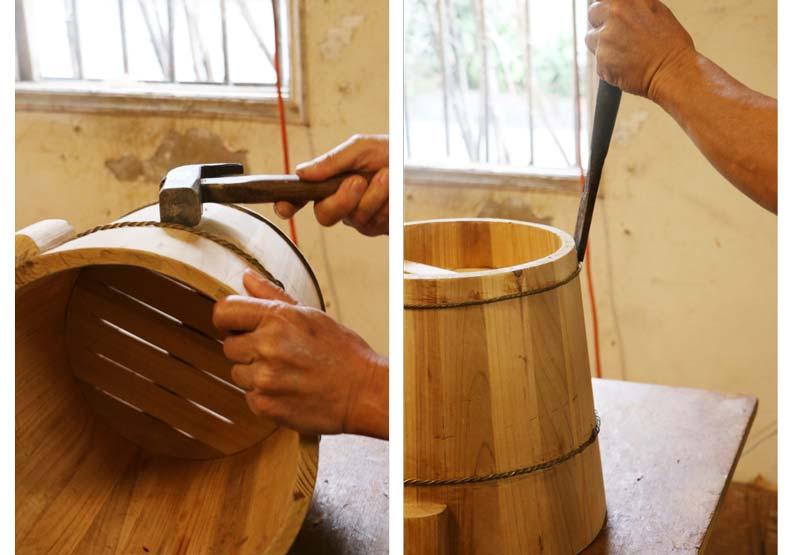箍桶耗時費工,卻是決定木桶壽命的關鍵。攝影:洪采姍