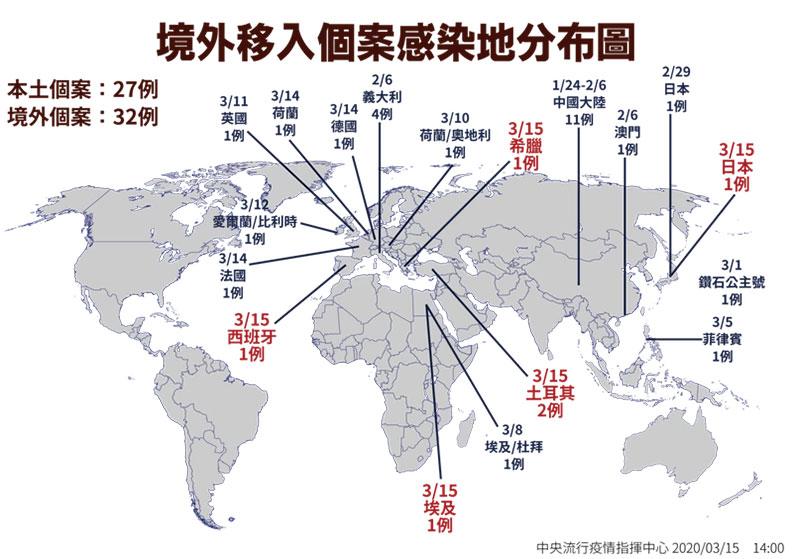 境外移入個案感染地分布圖;指揮中心提供。