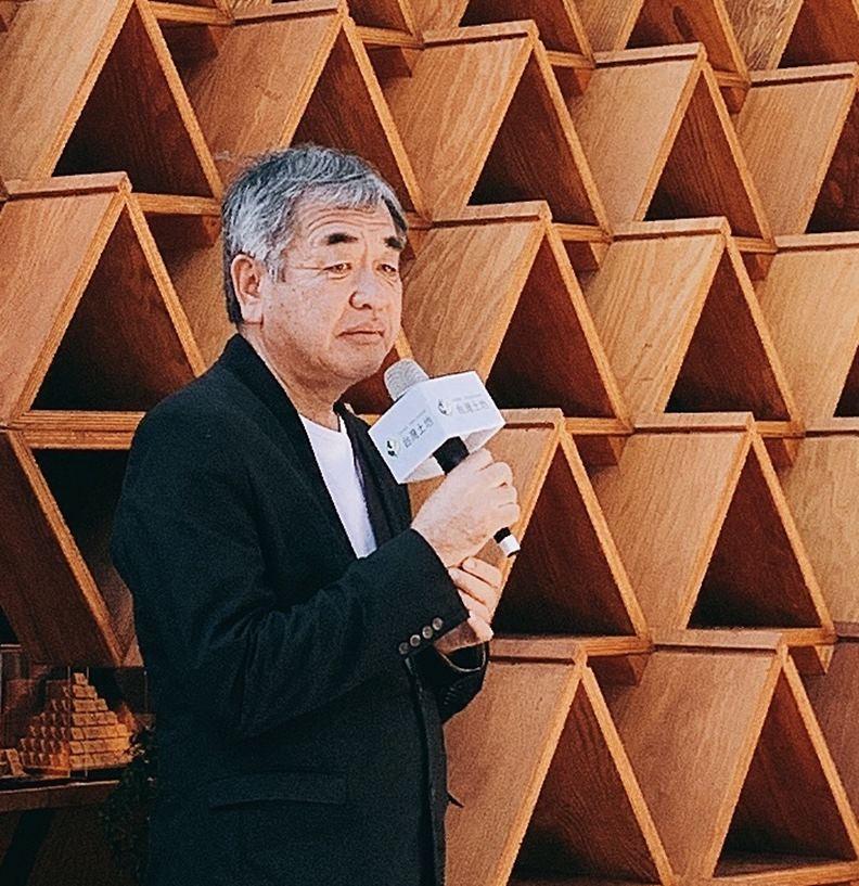 2020 年東奧主場館設計人隈研吾,攝於來台出席台開集團台中花博積木概念館啟用典禮。( 攝影/沈嫚君)