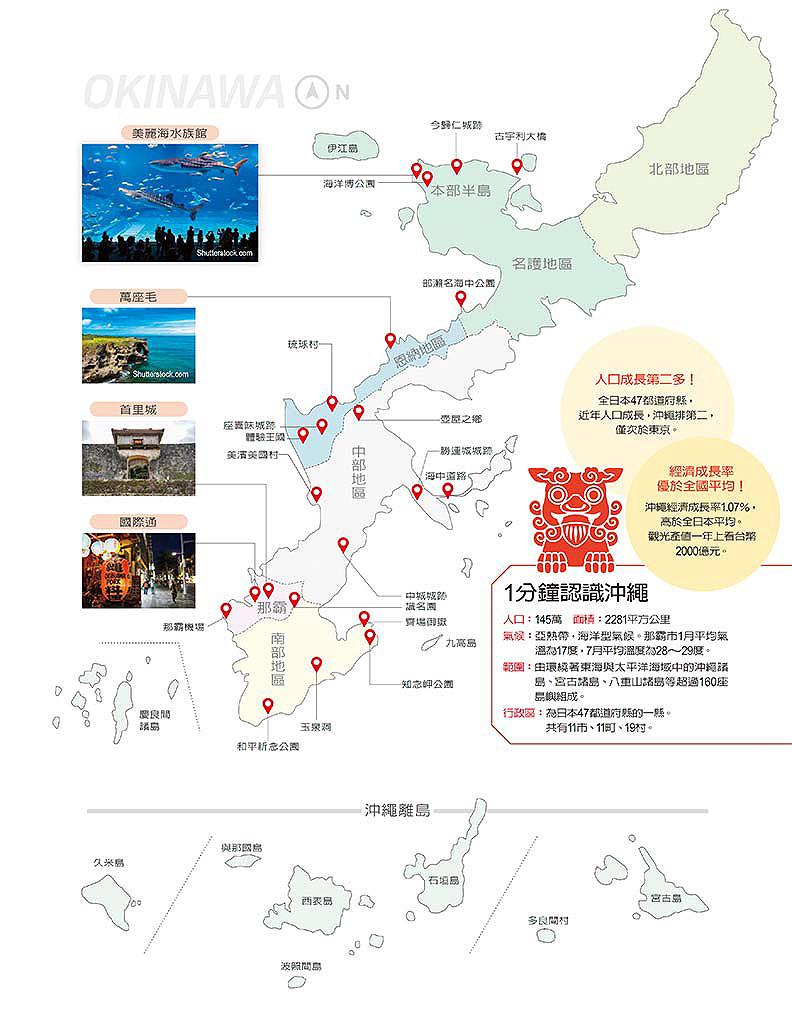 沖繩景點分佈圖。