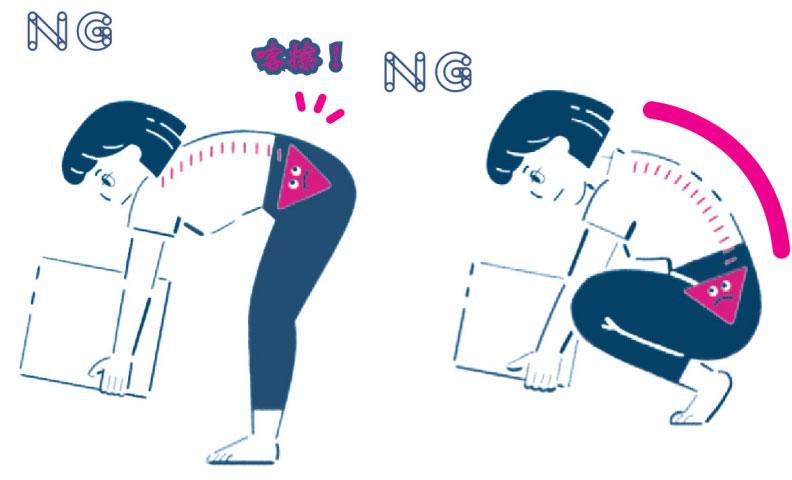 搬重物的兩種NG方式。
