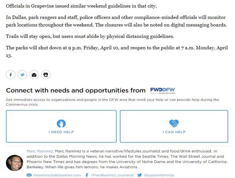 DallasNews.com每篇疫情相關文章下方,都看得到Be-a-Neighbor的資訊。