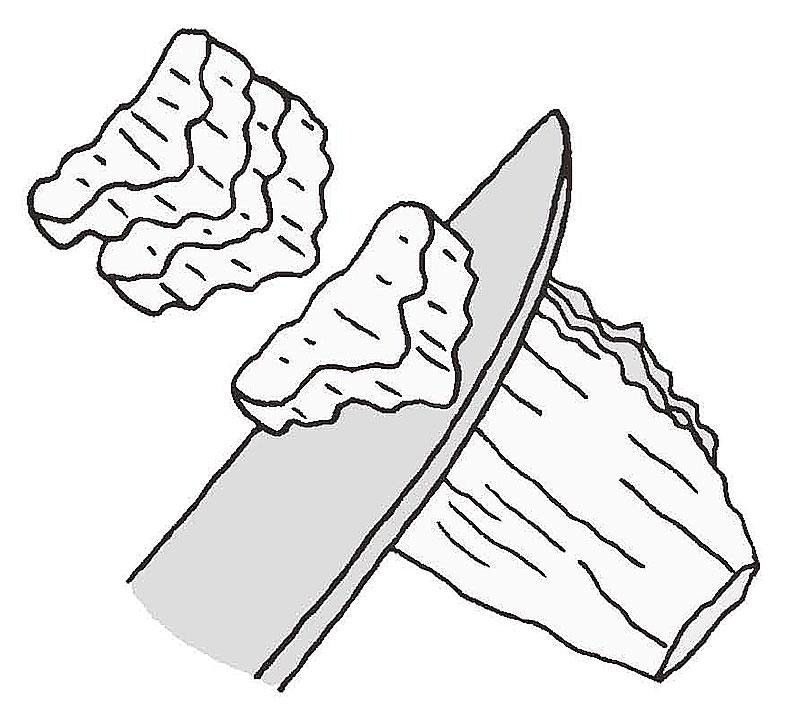 白菜菜梗削成薄片更易入口。