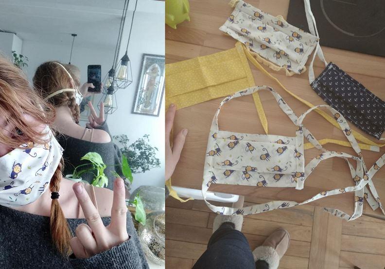 許多買不到口罩的法國人,近來都興起DIY風潮。(圖片提供:作者友人April)
