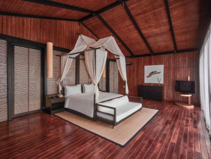 支撐別墅的支柱由永續人造林的木材建造。來源:Taj Exotica Resort & Spa Andaman Islands