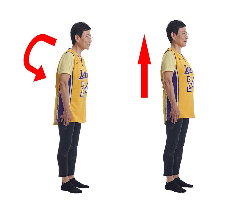 頂天立地有助緩解肩頸退化。
