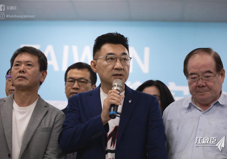 罷韓投票結束後,江啟臣帶領國民黨員一起對結果發表聲明。圖片取自江啟臣臉書