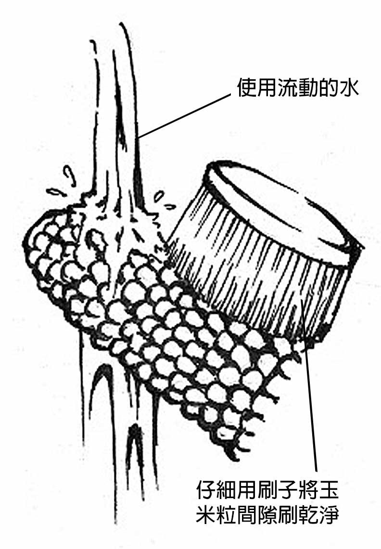將玉米放在流動的水下,用軟毛刷清洗;商周出版。