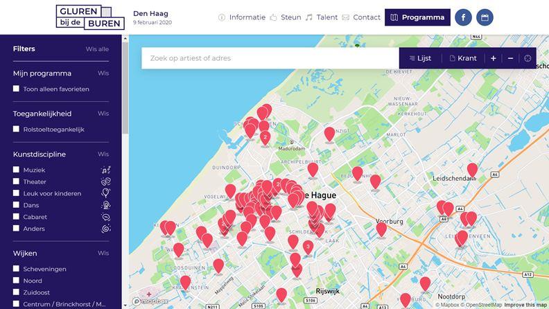 Gluren bij de Buren在海牙的表演地圖。(圖片來源:Gluren bij de Buren官網)