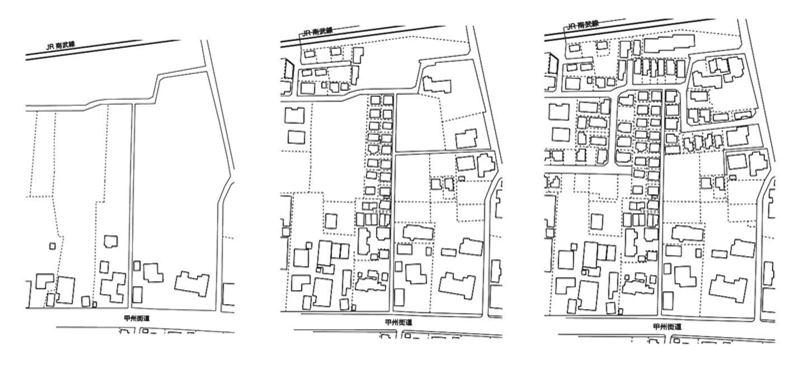 Y 計畫周邊地圖。可看出沿著古老街道發展的農村,腹地(北側)逐漸形成市區的樣子。