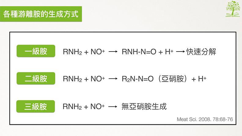 各種游離胺的生成方式。