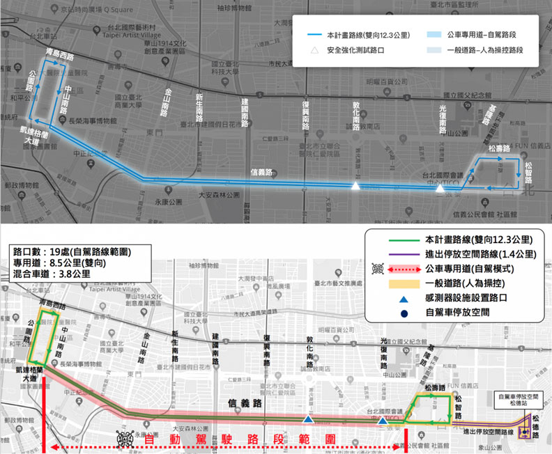 夜間自駕公車路線圖。台灣智慧駕駛公司提供