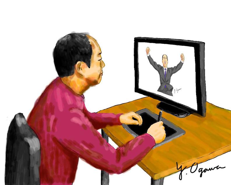 曾有同事問小川恭範怎麼畫畫,他就在社內刊物畫了一幅自己在做畫的樣子。(EPSON提供)
