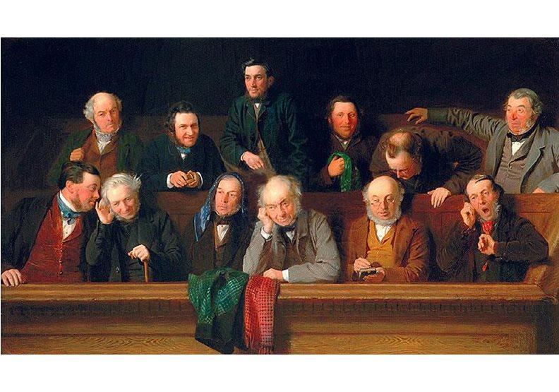 陪審團制度源自英美法,此為19世紀英國陪審團情景,圖片來源維基百科