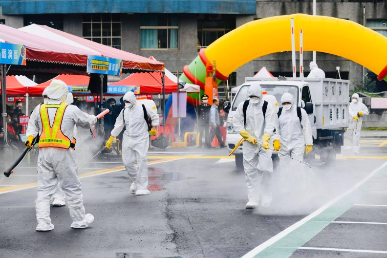 新北市實施實地防疫演練。圖片取自侯友宜臉書
