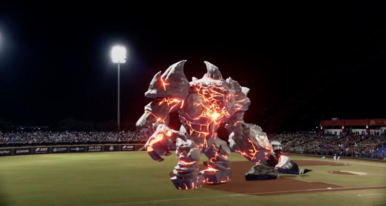 去年底世界棒球12強錦標賽(P12)推出的 AR 開場秀表演「岩魔」。(圖片提供:光禾感知)
