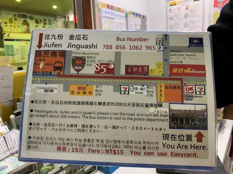 瑞芳火車站旅遊服務中心特製搭車地圖手舉牌,方便旅客掌握各景點的搭車位置及資訊。(照片提供:瑞芳火車站旅遊服務中心)