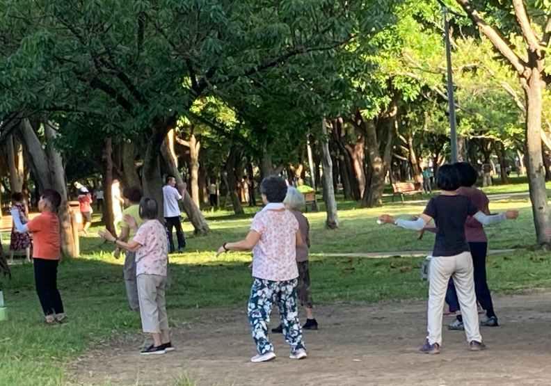 大安森林公園這座綠色森林,早上可以看到各式市民運動社群。陳美伶攝影
