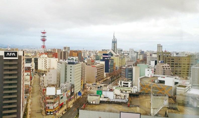 由寬廣道路和大型街區為主組成的富山市。