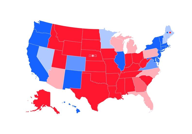2016年美國總統選舉結果,藍色表示民主黨候選人希拉蕊勝出的州,紅色表示共和黨候選人川普勝出的州。至於淺粉色州即是該次選舉的搖擺州。圖片來自維基百科。