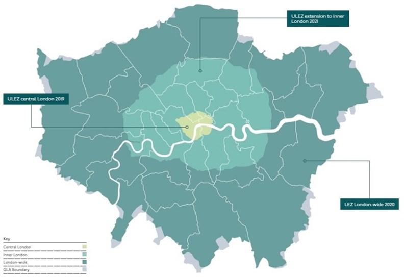 倫敦市區規劃的「超低排放區」(ULEZ)。 (source: London Freight and Servicing Action Plan 2019)
