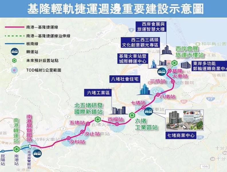 目前規劃的基隆南港通勤軌道。(資料:交通部)