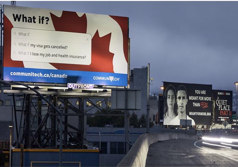 加拿大創業搖籃Comminitech在矽谷公路上掛看板搶才。圖片截自當地CTVNews網站