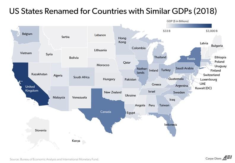 美國各州比對其他國家的經濟產值。(資料來源: www.aei.org)