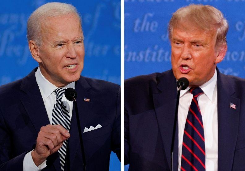 川普在最後一場大選辯論,表現相對節制。圖片取自達志影像