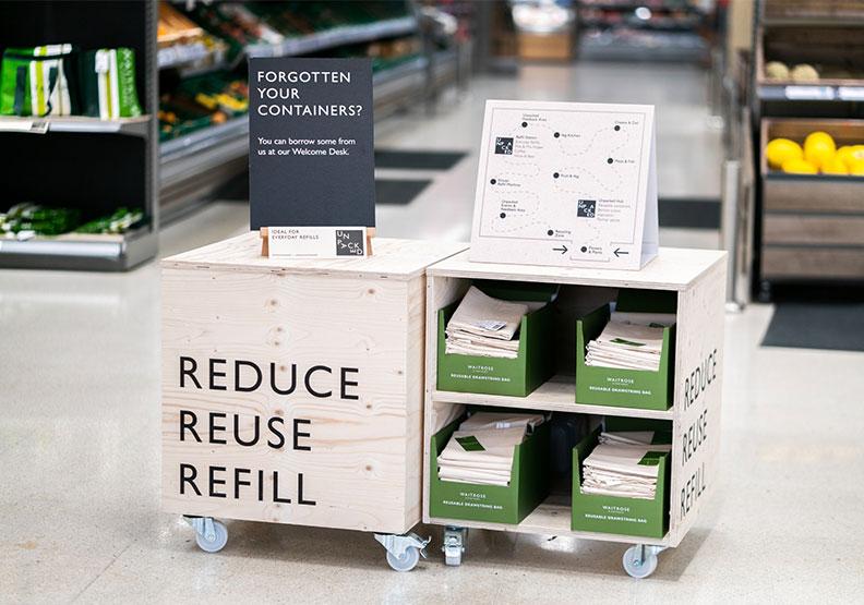 英國waitrose超市,店內出現各種減塑、減少一次性包裝用品的示意圖。綠色和平提供