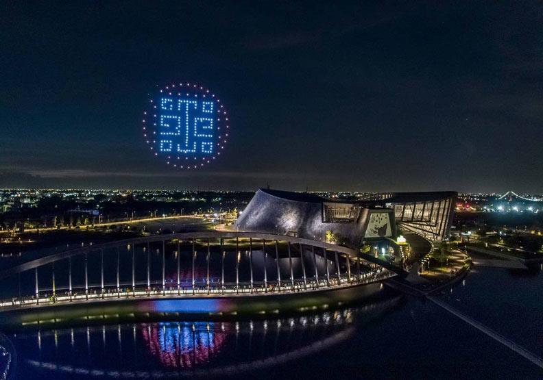 暑假故宮南院招標民間公司表演無人機群燈光秀。故宮南院提供
