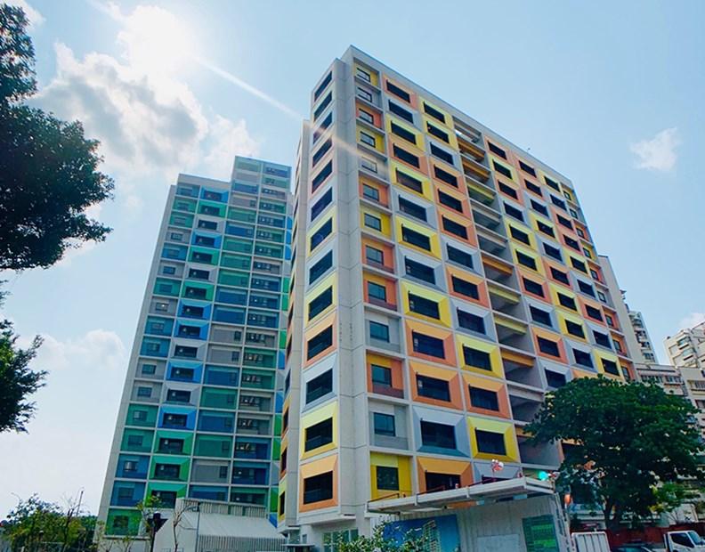 外型明亮的萬華青年社會住宅。(圖片提供:台北市政府)