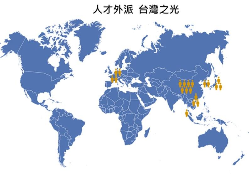 台灣萊雅員工外派在各地的分布圖。圖片由台灣萊雅提供