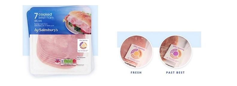 從火腿片包裝上的智能標籤,可從顏色的變化分辨出食品還新不新鮮。(圖片來源:Vanprob官網)