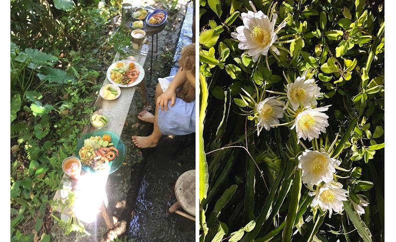 把餐桌移到戶外,在自然裡享受最原始的美味與風景。(薛聖月提供)