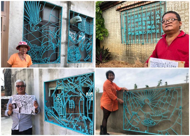 居民與鐵花窗合影。圖片來源/梧北社區發展協會臉書