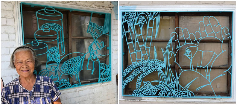 柑仔店的阿嬤與兩面鐵花窗。圖片來源/梧北社區發展協會、大同的臺南與京都臉書
