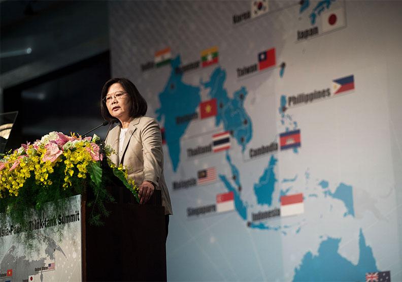 圖為蔡英文總統在2017亞太智庫領袖峰會現場發表演說。圖片由總統府提供。